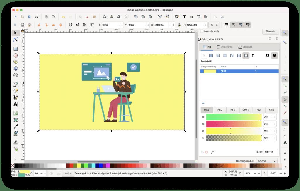Tilpasse farger og elementer i grafikk med Inkskape